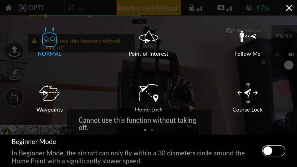 Εφαρμογή DJI GO - modes